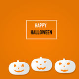 Happy Halloween background with scary pumpkins vector. illustrat Stock Image