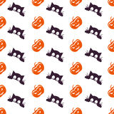 Happy Halloween Background. Seamless pattern. Vector illustration. Collection of seamless patterns in the traditional holiday colo Stock Images