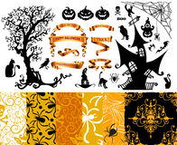 Happy Halloween background. Set of seamless patterns Stock Photo