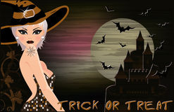 Happy halloween background with sexual blonde witc Stock Image