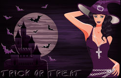 Happy halloween background with sexy witch Stock Photo