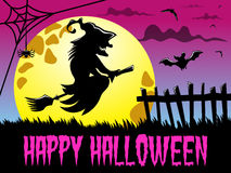 Happy Halloween background silhouette flying witch big full moon Stock Photo