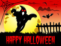 Happy Halloween background silhouette ghost big full moon Royalty Free Stock Photos