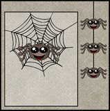 Happy halloween background with smiling spiders Stock Images