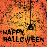 Happy Halloween background. With spider and calligraphy inscription. Vector illustration. Hipster brush made texture Stock Photography