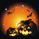 Happy Halloween. Halloween background with stars and pumpkin Royalty Free Stock Photo