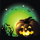 Happy Halloween. Halloween background with stars and pumpkin Stock Image