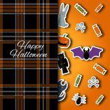 Happy Halloween background. Vector Flat Illustration. Signs and Symbols. Paper application with shadow. Plaid material Stock Images
