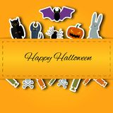 Happy Halloween background.Vector Flat Illustration. Signs and Symbols. Trick or Treat. Paper application with shadow. Royalty Free Stock Photography
