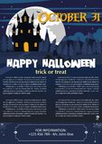 Happy Halloween background. Vector illustration of Happy Halloween night brochure background Stock Images