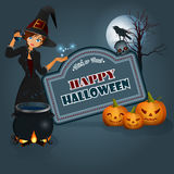 Happy Halloween background with a witch casts spells in front of cauldron Royalty Free Stock Photos