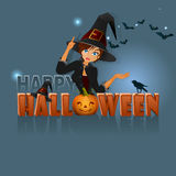 Happy Halloween, background with a witch girl making magic Stock Images