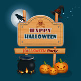 Happy Halloween, background with a witch magic cauldron and wooden sign. Holidays, design with Halloween pumpkins, witch cauldron, wood sign, raven and wizard' Royalty Free Stock Photography