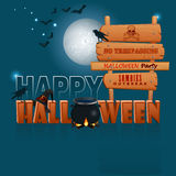 Happy Halloween, background with a witch magic cauldron and wooden sign Royalty Free Stock Image