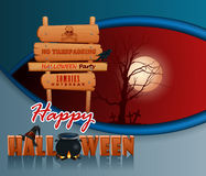 Happy Halloween, background with a witch magic cauldron and wooden sign Stock Images