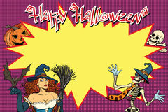 Happy Halloween background with witch, skeleton and pumpkin Stock Photo