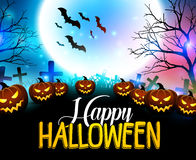 Free Happy Halloween Background With Scary Pumpkins In The Graveyard Stock Images - 78307534