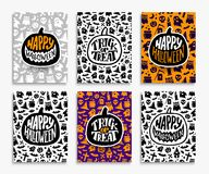Happy Halloween greeting cards set Stock Image