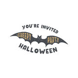 Happy Halloween badge. Vintage hand drawn logo design. Monochrome style. Typography elements and Halloween symbol - bat Stock Photos