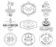 Happy Halloween badges black on white Royalty Free Stock Photography