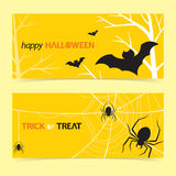 Happy halloween banner. Halloween, halloween background, happy halloween, trick or treat, halloween banner, banner, bat, spider, web, spiderweb, holiday Royalty Free Stock Photography
