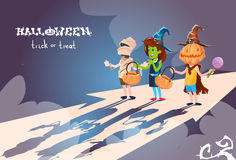 Happy Halloween Banner Chilren Ib Costumes Party Invitation Banner Royalty Free Stock Image