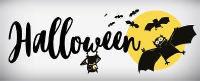 Happy Halloween Banner. Comical bat. Vector illustration stock illustration