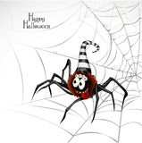 Happy Halloween banner with cute spider on the web Stock Photography