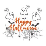 Happy Halloween banner design template. Cute cartoon spooky. And spider web on white background. Scary white ghosts. Halloween greeting card design. Vector Royalty Free Illustration