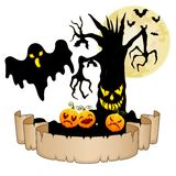 Happy Halloween banner with empty paper, ghosts, pumpkins, bats and spooky tree Royalty Free Stock Photo