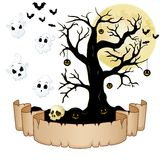 Happy Halloween banner with empty paper, ghosts, skull, pumpkins, bats and dry tree Royalty Free Stock Photography