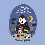 Happy Halloween banner with funny smiling Dracula or vampire standing at table with candles in candlesticks and holding. Wineglass with blood against night sky Stock Images