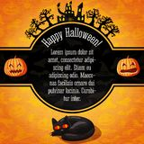 Happy halloween banner with greetings and sample. Text. Spooky trees with haunted castle on the top, black cat on the bottom. On the halloween background with Royalty Free Stock Photo