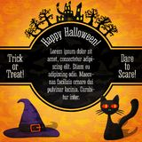 Happy halloween banner with greetings, sample text. Happy halloween banner with greetings and sample text. Spooky trees with haunted castle on the top, black cat Stock Images