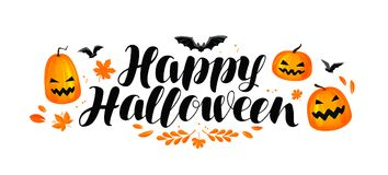 Happy Halloween banner. Handwritten lettering, calligraphy vector illustration Royalty Free Stock Image