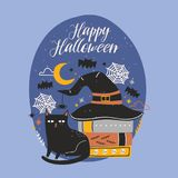 Happy Halloween banner. Happy Halloween banner with funny black cat sitting beside stack of antique books covered by witch hat against night sky, spiders and Royalty Free Stock Photography