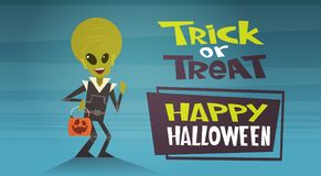 Happy Halloween Banner Holiday Decoration Horror Party Greeting Card Cute Cartoon Alien Trick Or Treat Royalty Free Stock Photos