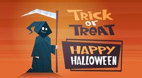 Happy Halloween Banner Holiday Decoration Horror Party Greeting Card Cute Cartoon Death Trick Or Treat. Flat Vector Illustration Royalty Free Stock Images