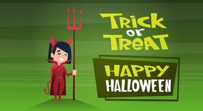 Happy Halloween Banner Holiday Decoration Horror Party Greeting Card Cute Cartoon Devil Trick Or Treat. Flat Vector Illustration Royalty Free Stock Photography
