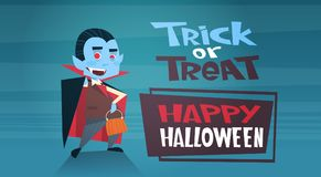Happy Halloween Banner Holiday Decoration Horror Party Greeting Card Cute Cartoon Dracula Trick Or Treat. Flat Vector Illustration Stock Photography