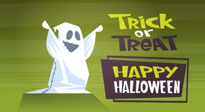 Happy Halloween Banner Holiday Decoration Horror Party Greeting Card Cute Cartoon Ghost Trick Or Treat. Flat Vector Illustration Royalty Free Stock Images