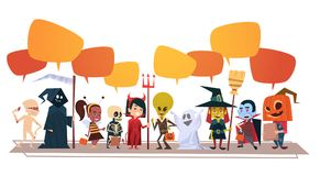 Happy Halloween Banner Holiday Decoration Horror Party Greeting Card Cute Cartoon Monsters With Chat Bubbles. Flat Vector Illustration Royalty Free Stock Photography