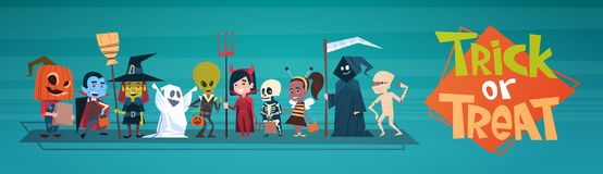 Happy Halloween Banner Holiday Decoration Horror Party Greeting Card Cute Cartoon Monsters. Flat Vector Illustration Stock Images