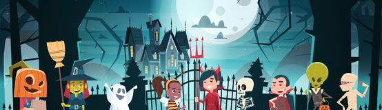 Happy Halloween Banner Holiday Decoration Horror Party Greeting Card Cute Cartoon Monsters Walking To Dark Castle With. Ghosts Flat Vector Illustration royalty free illustration