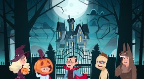 Happy Halloween Banner Holiday Decoration Horror Party Greeting Card Cute Cartoon Monsters Walking To Dark Castle With Stock Photos