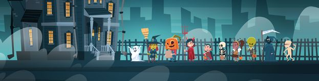 Happy Halloween Banner Holiday Decoration Horror Party Greeting Card Cute Cartoon Monsters Walking To Dark Castle With Royalty Free Stock Images