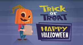 Happy Halloween Banner Holiday Decoration Horror Party Greeting Card Cute Cartoon Pumpkin Trick Or Treat. Flat Vector Illustration Stock Photo