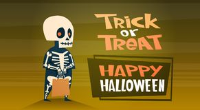 Happy Halloween Banner Holiday Decoration Horror Party Greeting Card Cute Cartoon Skeleton Trick Or Treat. Flat Vector Illustration Royalty Free Stock Photo