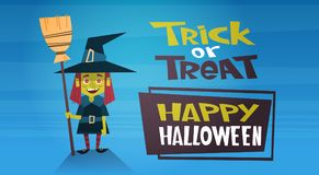 Happy Halloween Banner Holiday Decoration Horror Party Greeting Card Cute Cartoon Witch Trick Or Treat. Flat Vector Illustration Stock Photo