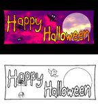 Happy Halloween Banner. Horizontal Halloween Banner. A full-color on a black background, and black lines on white background Royalty Free Stock Images